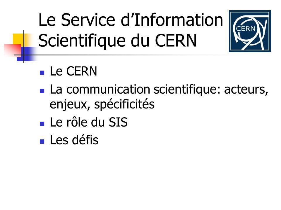 Le Service dInformation Scientifique du CERN Le CERN La communication scientifique: acteurs, enjeux, spécificités Le rôle du SIS Les défis