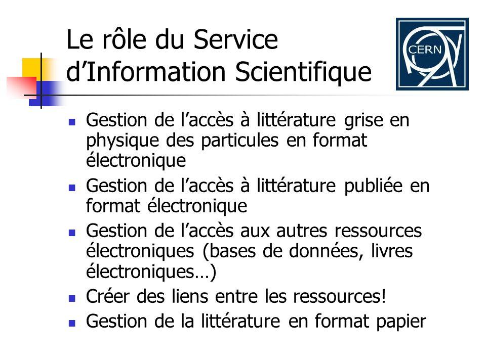 Le SIS et son depôt institutionnel: le CERN Document Server (CDS) 1.000.000 notices bibliographiques > 400.000 documents librement accessibles en ligne (texte intégral) ~ 500 collections de documents Articles, prétirages, livres, vidéos, photos, posters....