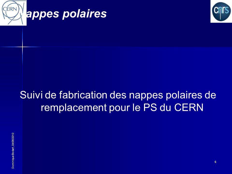Dominique Bodart, 04/06/2010 6 Nappes polaires Suivi de fabrication des nappes polaires de remplacement pour le PS du CERN