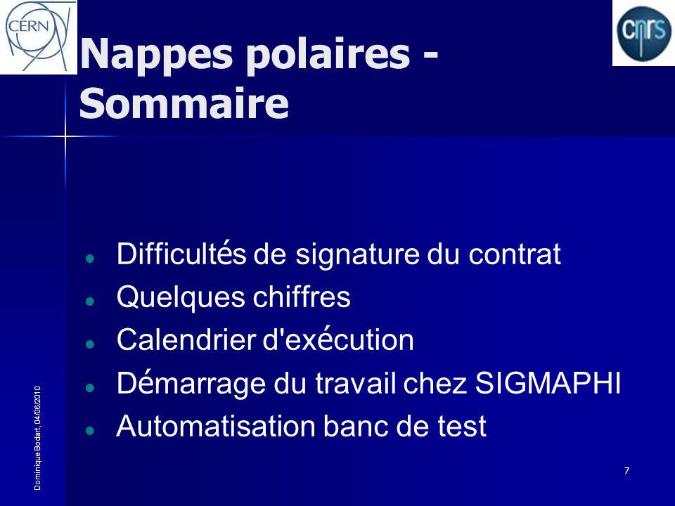 Dominique Bodart, 04/06/2010 7 Nappes polaires - Sommaire Difficult é s de signature du contrat Quelques chiffres Calendrier d'ex é cution D é marrage