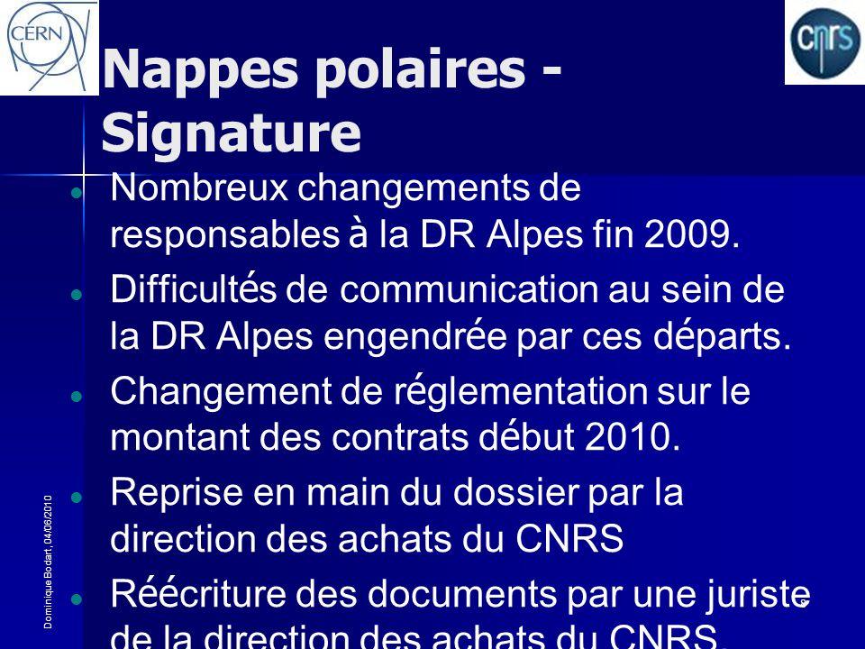 Dominique Bodart, 04/06/2010 8 Nappes polaires - Signature Nombreux changements de responsables à la DR Alpes fin 2009. Difficult é s de communication