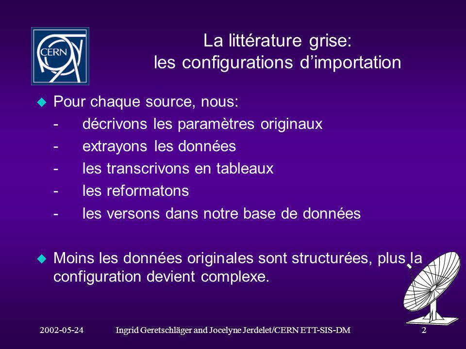 2002-05-24Ingrid Geretschläger and Jocelyne Jerdelet/CERN ETT-SIS-DM2 La littérature grise: les configurations dimportation u Pour chaque source, nous