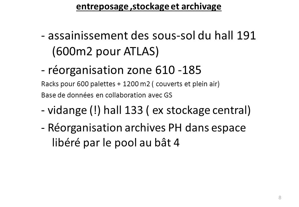 entreposage,stockage et archivage - assainissement des sous-sol du hall 191 (600m2 pour ATLAS) - réorganisation zone 610 -185 Racks pour 600 palettes