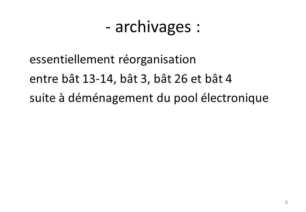 - archivages : essentiellement réorganisation entre bât 13-14, bât 3, bât 26 et bât 4 suite à déménagement du pool électronique 9