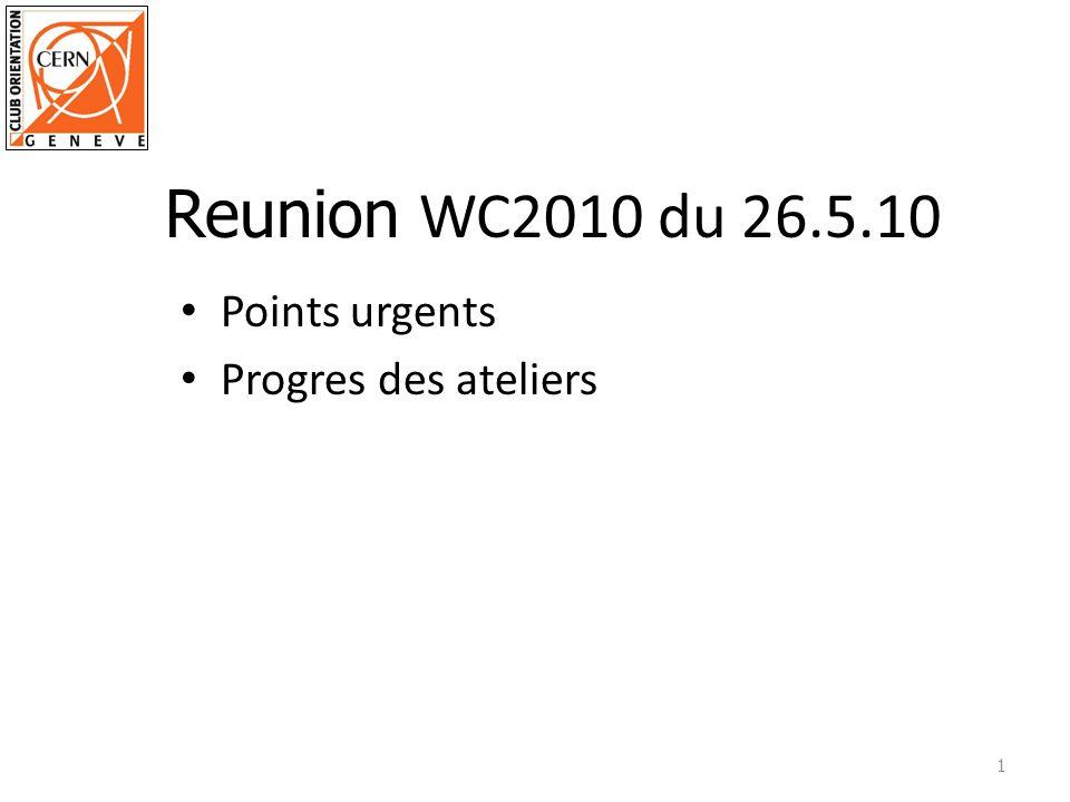 Points urgents Progres des ateliers 1 Reunion WC2010 du 26.5.10