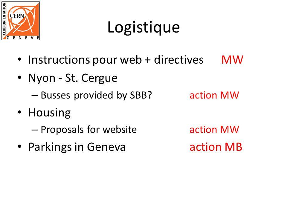 Logistique Instructions pour web + directives MW Nyon - St.
