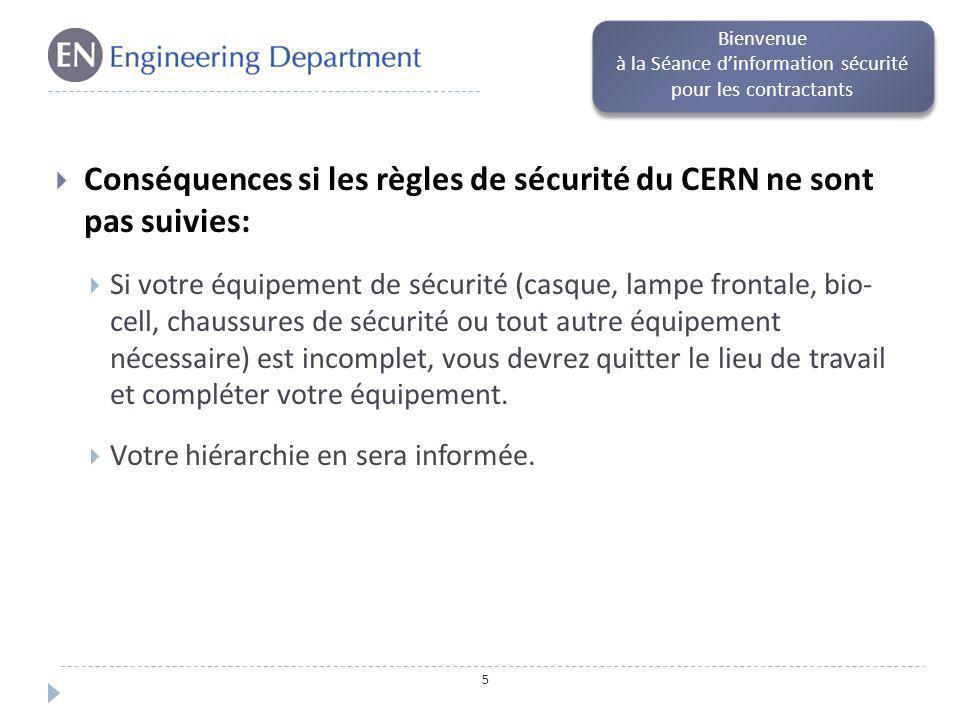 Conséquences si les règles de sécurité du CERN ne sont pas suivies: Si vous passez délibérément outre ces règles, par exemple en échangeant votre dosimètre avec une autre personne ou si à plusieurs reprises vous ne suivez pas les instructions, vos droits daccès vous seront retirés et vous ne pourrez plus travailler sur le site.