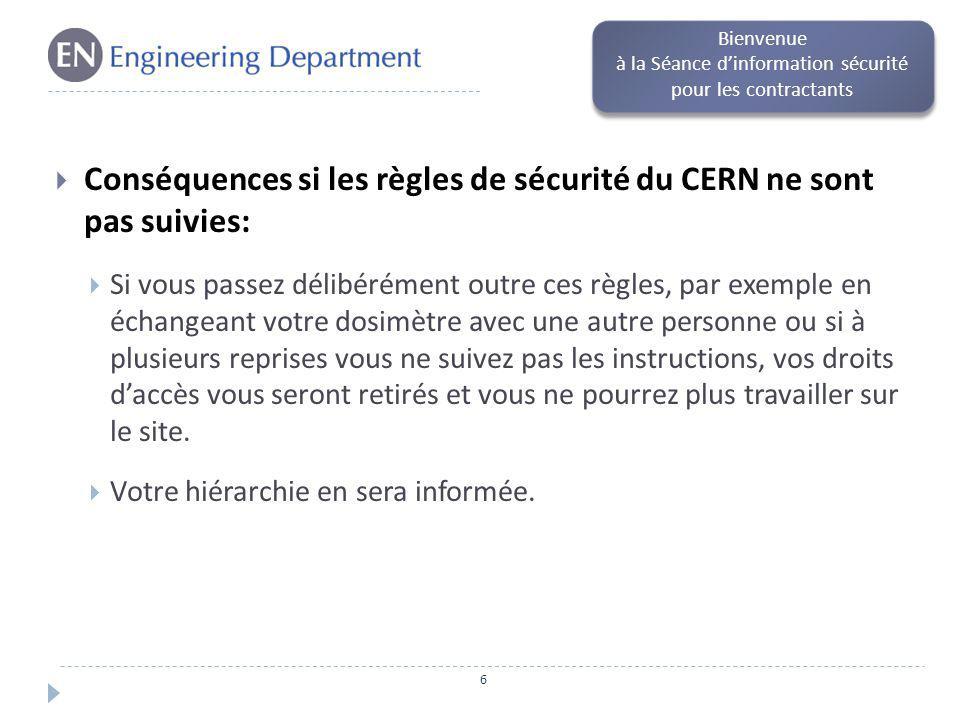 Conséquences si les règles de sécurité du CERN ne sont pas suivies: Si vous passez délibérément outre ces règles, par exemple en échangeant votre dosi