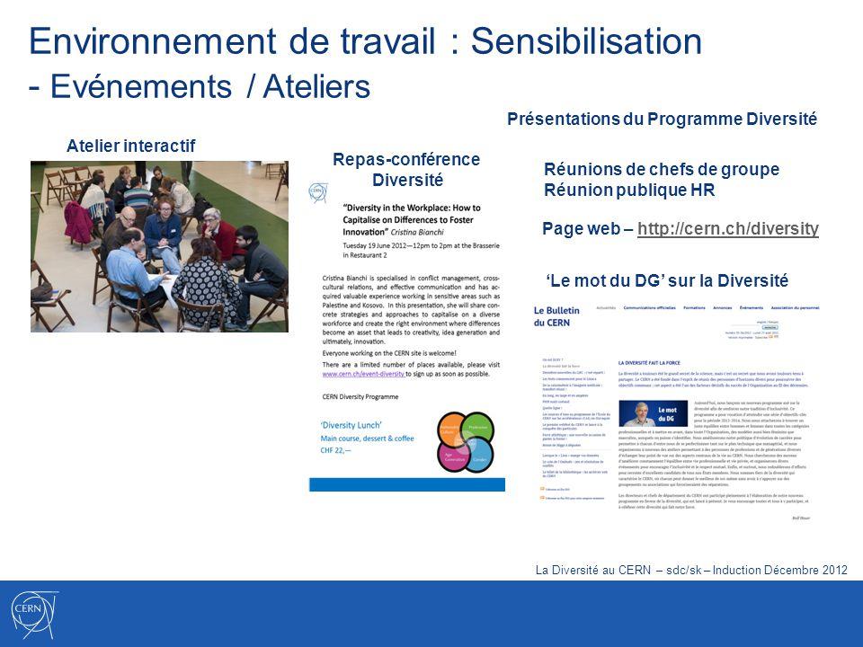 Environnement de travail : Sensibilisation - Evénements / Ateliers Atelier interactif La Diversité au CERN – sdc/sk – Induction Décembre 2012 Repas-co