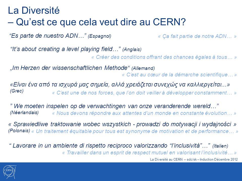 La Diversité – Quest ce que cela veut dire au CERN? Es parte de nuestro ADN… (Espagnol) We moeten inspelen op de verwachtingen van onze veranderende w
