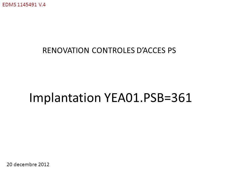 YEA01.PSB=361 : ACCES MATERIEL MAD INCHANGE DEPUIS 13 juin 2012 EDMS 1145491 V.4