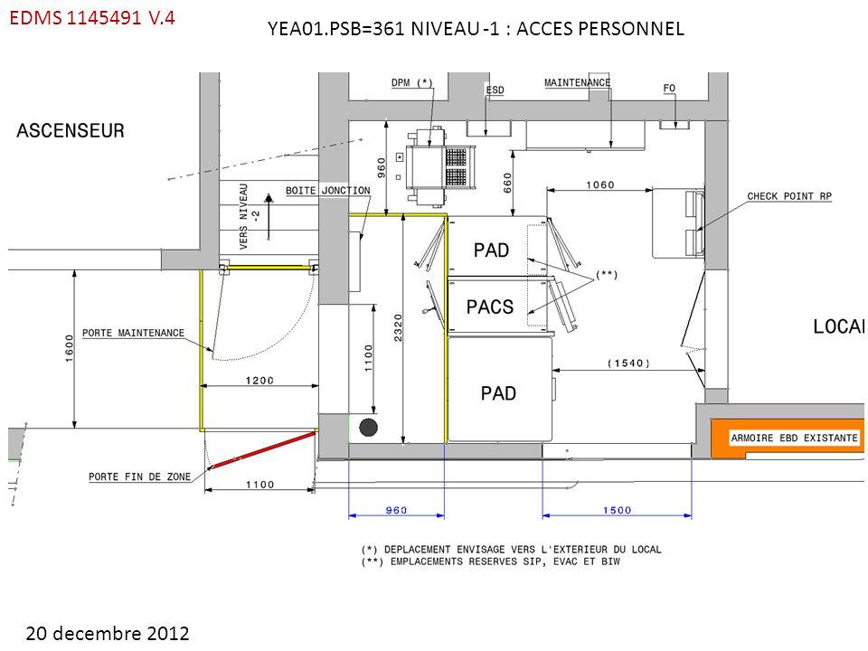 YEA01.PSB=361 NIVEAU -1 : ACCES PERSONNEL EDMS 1145491 V.4 20 decembre 2012