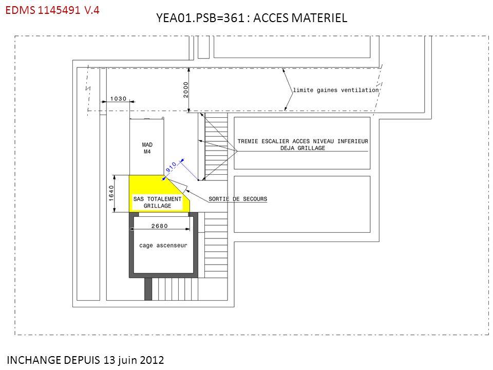 YEA01.PSB=361 : ACCES MATERIEL EDMS 1145491 V.4 INCHANGE DEPUIS 13 juin 2012