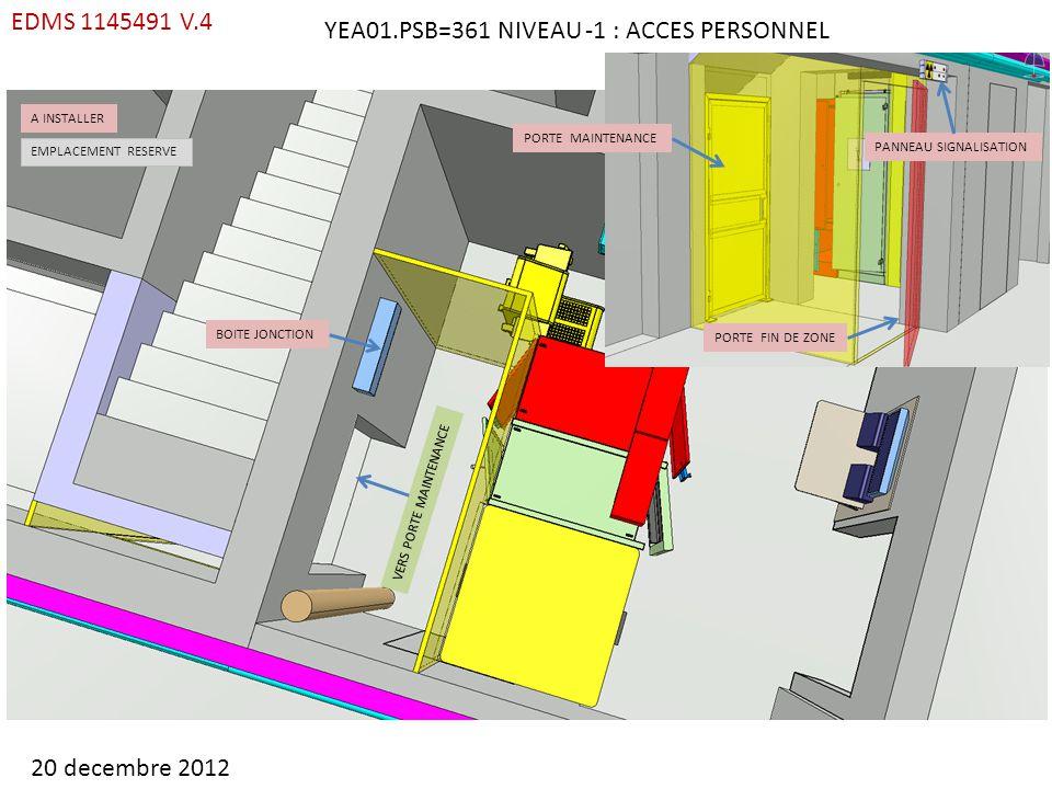 ARMOIRE EBD EXISTANTE A INSTALLER EMPLACEMENT RESERVE CHECK POINT RP COFFRET ESD PRISES PAD PACS PASS COFFRET FO COFFRET MAINTENANCE DPM BOITE JONCTION YEA01.PSB=361 NIVEAU -1 : ACCES PERSONNEL 20 decembre 2012 BIW EVAC SIP EDMS 1145491 V.4