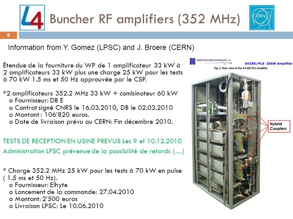 Buncher RF amplifiers (352 MHz) 6 Étendue de la fourniture du WP de 1 amplificateur 33 kW à 2 amplificateurs 33 kW plus une charge 25 kW pour les tests à 70 kW 1.5 ms et 50 Hz approuvée par le CSP.