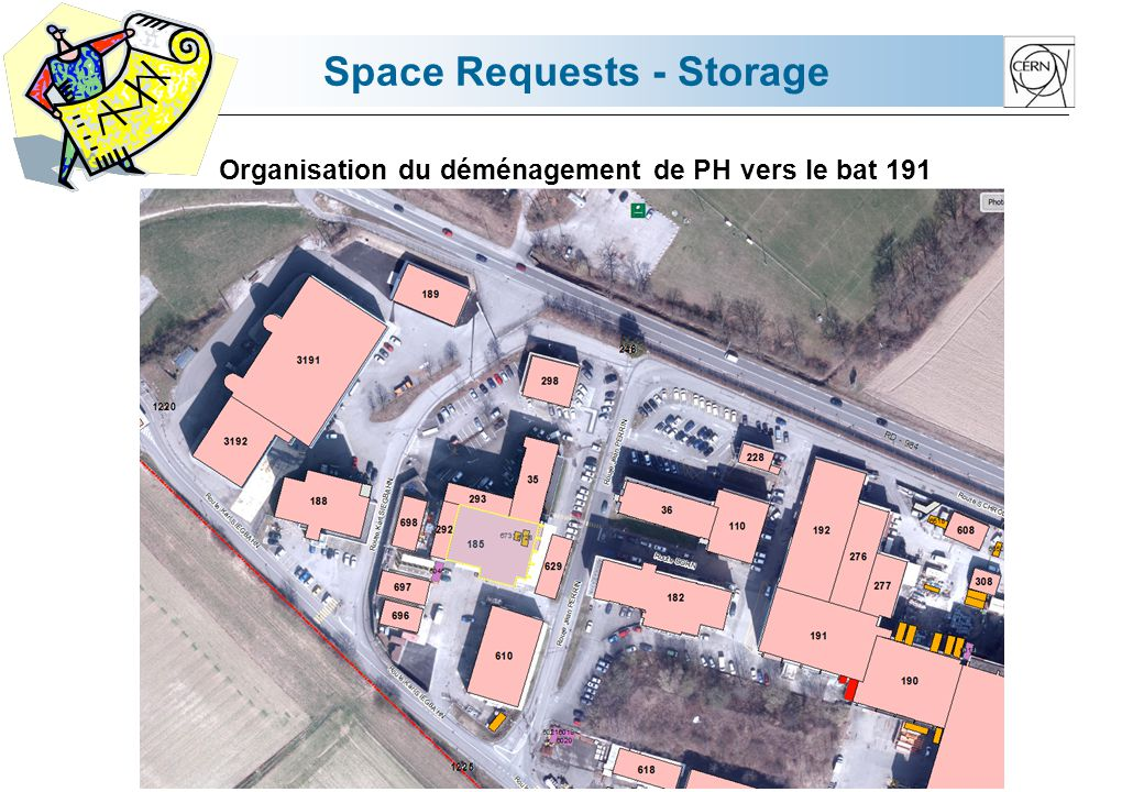 Space Requests - Storage Organisation du déménagement de PH vers le bat 191