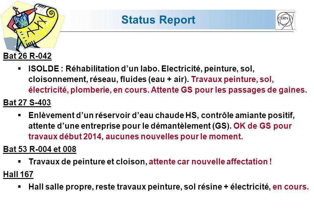 Status Report Bat 26 R-042 ISOLDE : Réhabilitation dun labo. Electricité, peinture, sol, cloisonnement, réseau, fluides (eau + air). Travaux peinture,