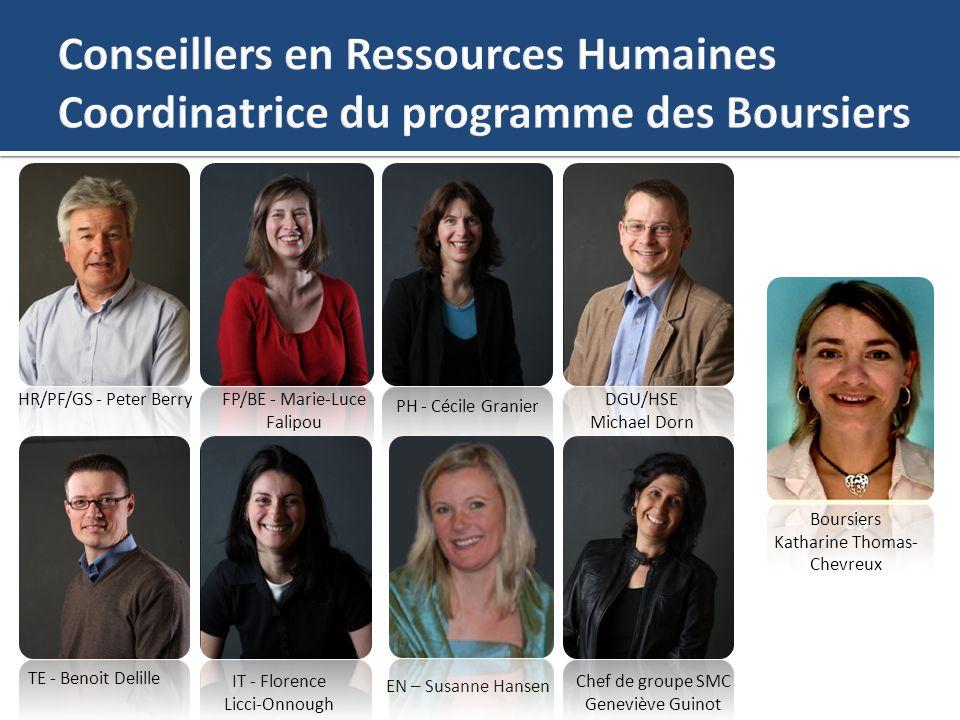 HR/PF/GS - Peter BerryFP/BE - Marie-Luce Falipou PH - Cécile Granier DGU/HSE Michael Dorn TE - Benoit Delille Chef de groupe SMC Geneviève Guinot Bour
