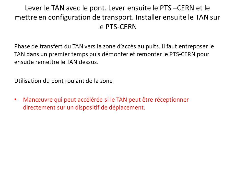 Lever le TAN avec le pont. Lever ensuite le PTS –CERN et le mettre en configuration de transport.