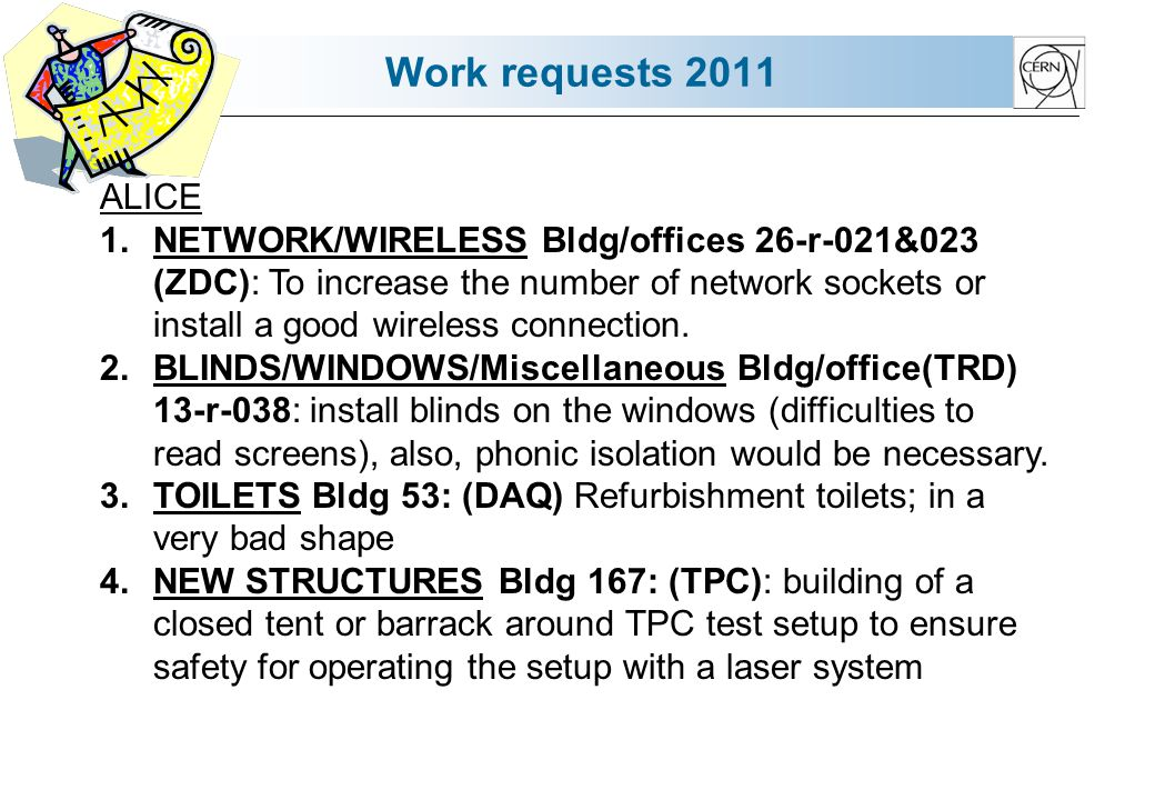 Work requests 2011 ALICE 1.NETWORK/WIRELESS Bldg/offices 26-r-021&023 (ZDC): To increase the number of network sockets or install a good wireless connection.