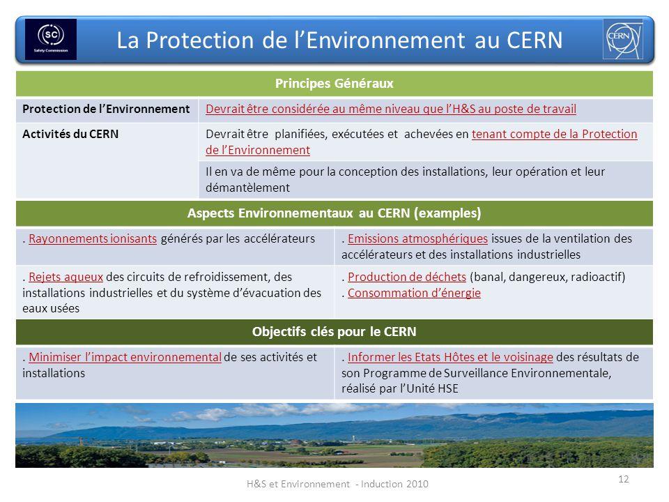 12 La Protection de lEnvironnement au CERN Principes Généraux Protection de lEnvironnementDevrait être considérée au même niveau que lH&S au poste de