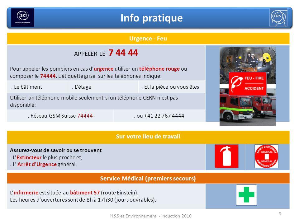 Service Médical (premiers secours) Linfirmerie est située au bâtiment 57 (route Einstein). Les heures douvertures sont de 8h à 17h30 (jours ouvrables)