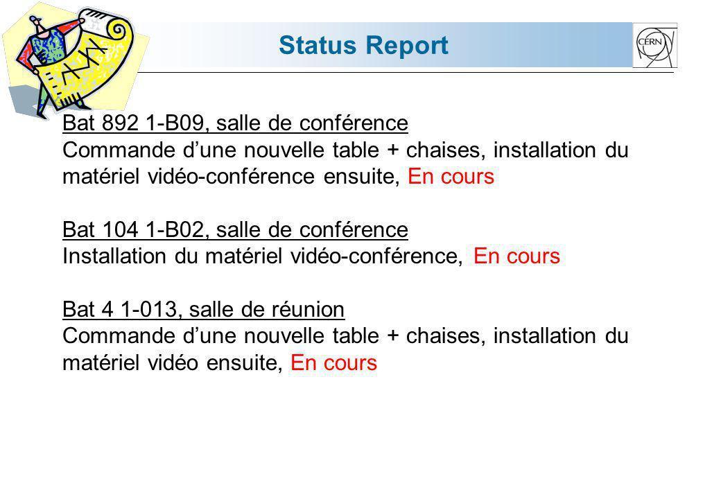 Status Report Bat 892 1-B09, salle de conférence Commande dune nouvelle table + chaises, installation du matériel vidéo-conférence ensuite, En cours B