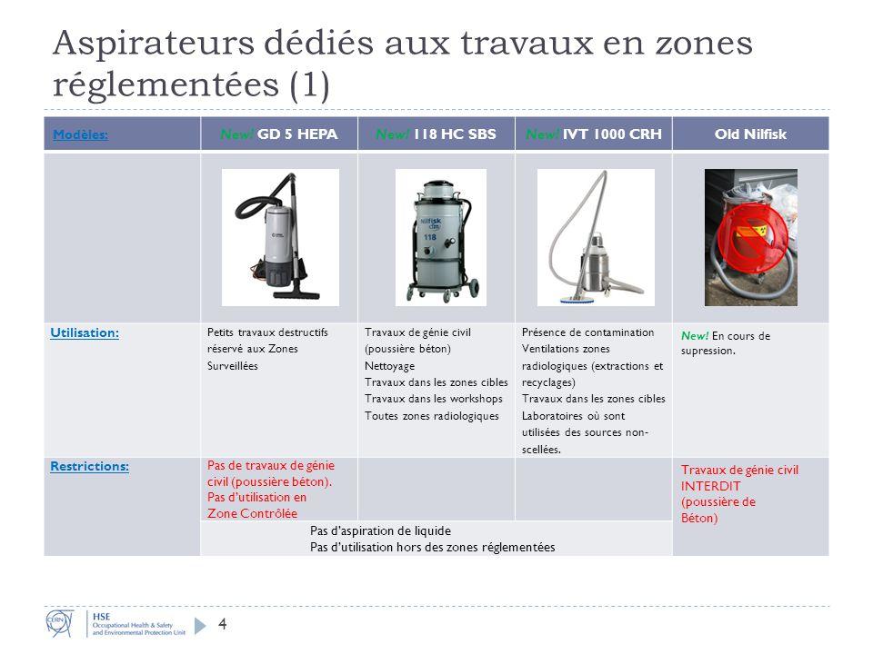 Aspirateurs dédiés aux travaux en zones réglementées (1) Modèles: New.