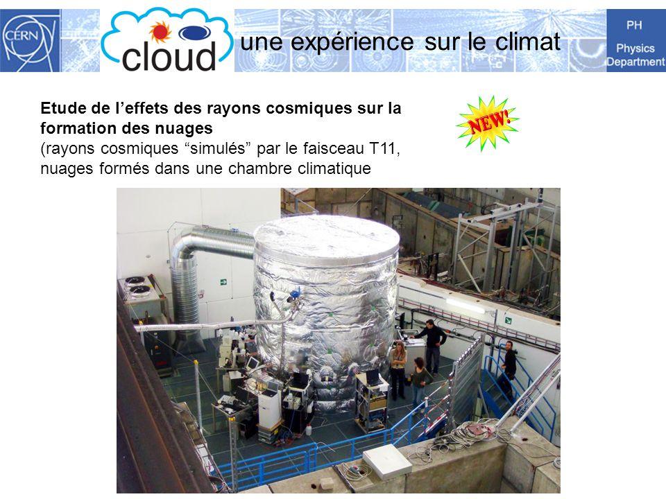 CLOUD : : une expérience sur le climat Etude de leffets des rayons cosmiques sur la formation des nuages (rayons cosmiques simulés par le faisceau T11, nuages formés dans une chambre climatique