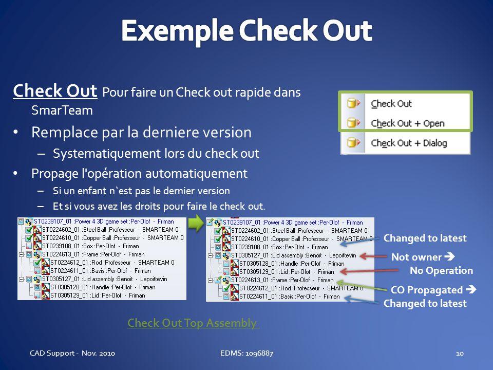 Check Out Pour faire un Check out rapide dans SmarTeam Remplace par la derniere version – Systematiquement lors du check out Propage l'opération autom