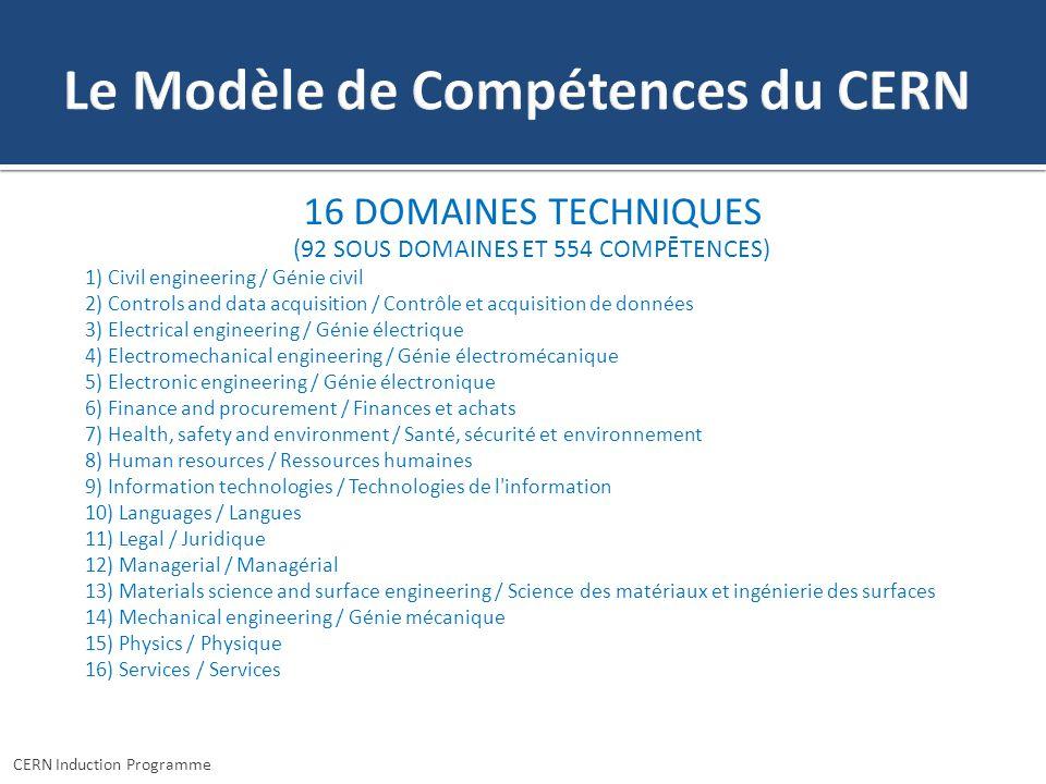 16 DOMAINES TECHNIQUES (92 SOUS DOMAINES ET 554 COMPĒTENCES) 1) Civil engineering / Génie civil 2) Controls and data acquisition / Contrôle et acquisi