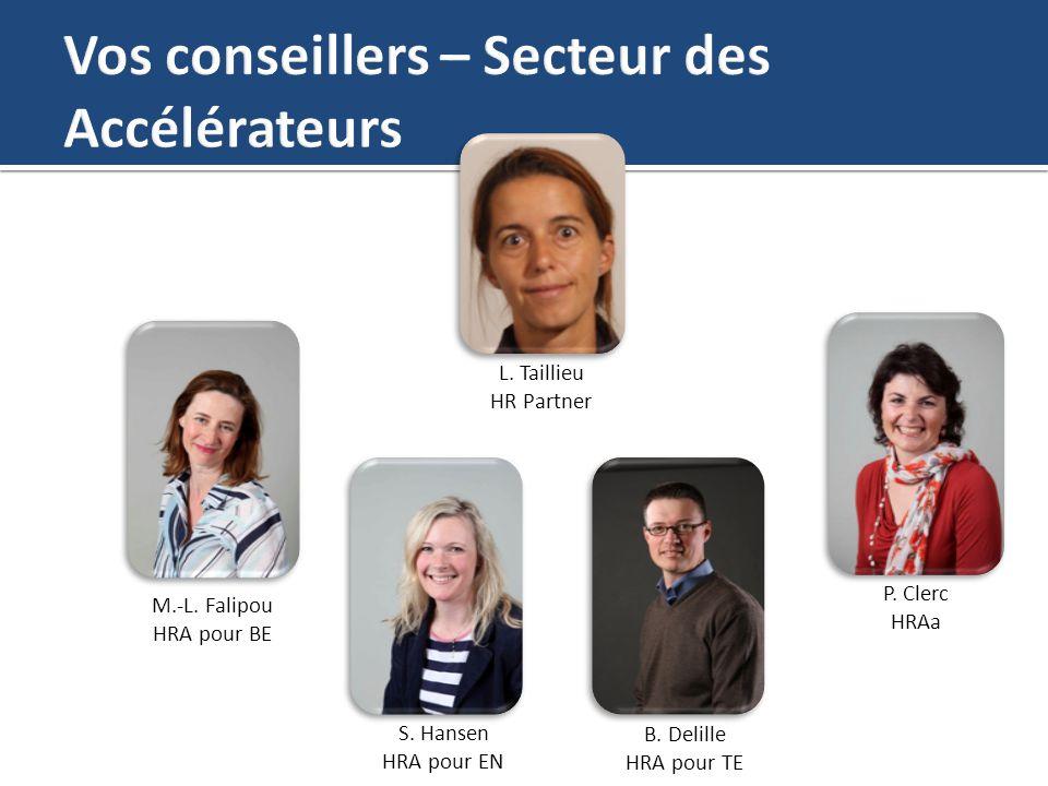M.-L. Falipou HRA pour BE L. Taillieu HR Partner P. Clerc HRAa S. Hansen HRA pour EN B. Delille HRA pour TE