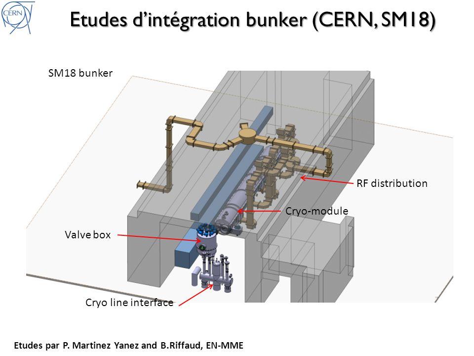 Etudes dintégration bunker (CERN, SM18) SM18 bunker Valve box RF distribution Cryo line interface Cryo-module Etudes par P.
