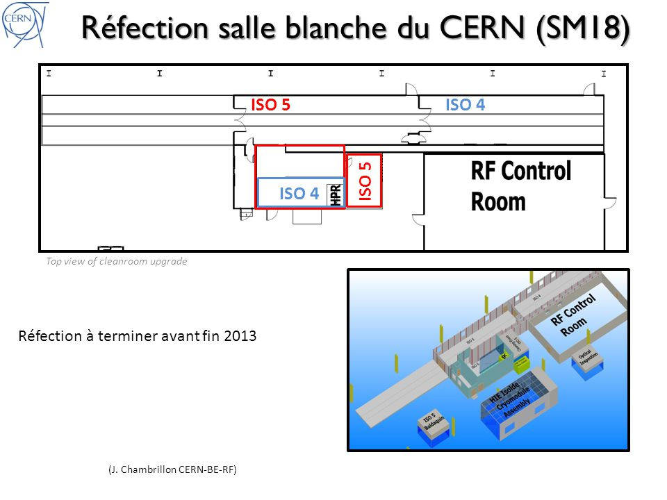 ISO 5ISO 4 ISO 5 Top view of cleanroom upgrade Réfection salle blanche du CERN (SM18) (J. Chambrillon CERN-BE-RF) Réfection à terminer avant fin 2013