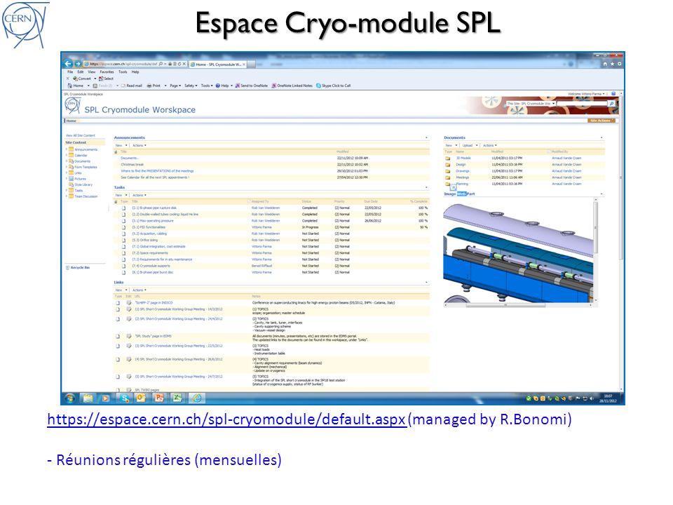 Groupe de Travail CM SPL Avancées depuis le CSP08: Analyse de risque cryogénique et choix des organes de sécurité (soupapes et disques de rupture) Finalisation de la conception de lenceinte a vide Etudes d intégration CM dans bunker de test (CERN, SM18): – Connections distribution RF de test – Schéma de contrôle cryogénique (P&ID) et connections distribution cryo Tests maquette système de support cavités Définition de linstrumentation Conception de détail du cryostat (CNRS): écrans thermiques et transitions chaud/froid Principes dassemblage en salle blanche Principes et outillages dassemblage cryo-module (hors salle blanche)