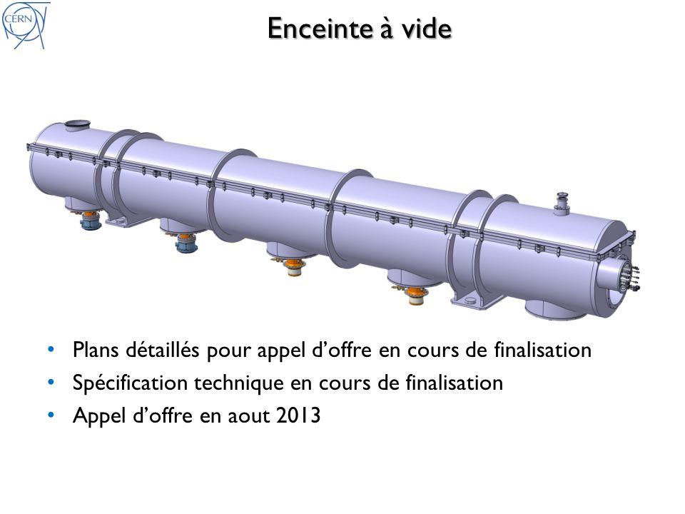 Enceinte à vide Plans détaillés pour appel doffre en cours de finalisation Spécification technique en cours de finalisation Appel doffre en aout 2013