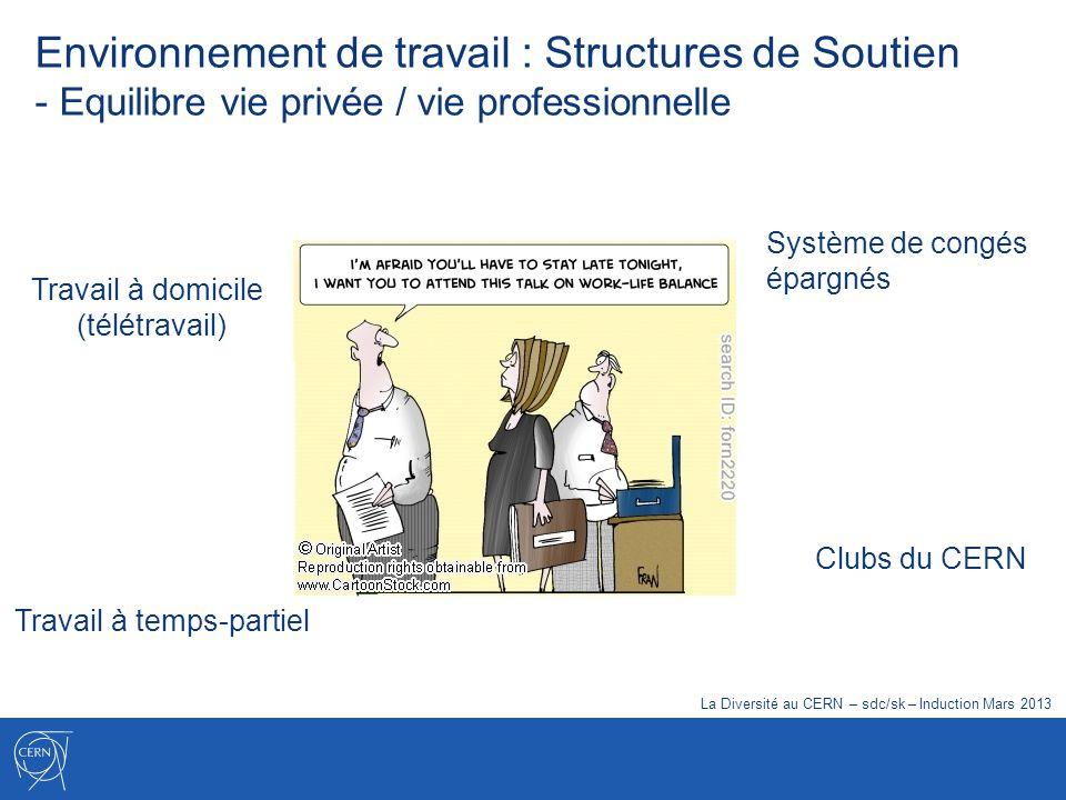 Travail à temps-partiel Travail à domicile (télétravail) Clubs du CERN Système de congés épargnés Environnement de travail : Structures de Soutien - E