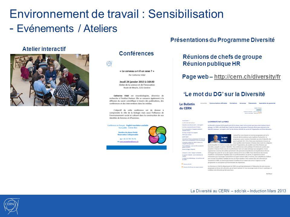 Environnement de travail : Sensibilisation - Evénements / Ateliers Atelier interactif Conférences Réunions de chefs de groupe Réunion publique HR Le m