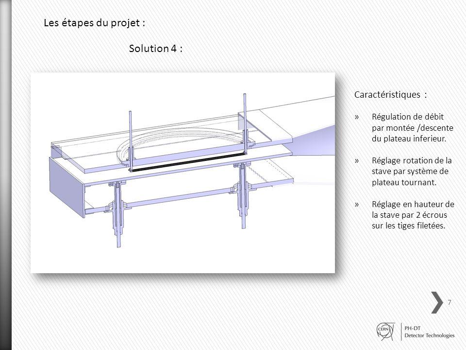 Solution 4 : Caractéristiques : »Régulation de débit par montée /descente du plateau inferieur. »Réglage rotation de la stave par système de plateau t