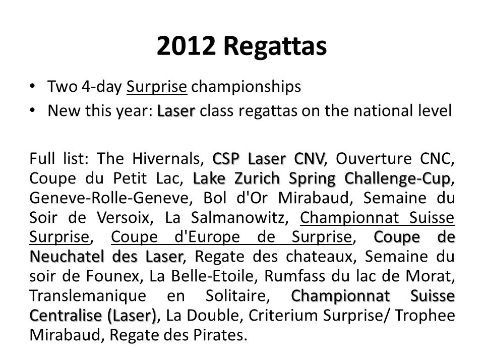 2012 Regattas Two 4-day Surprise championships Laser New this year: Laser class regattas on the national level CSP Laser CNV Lake Zurich Spring Challe