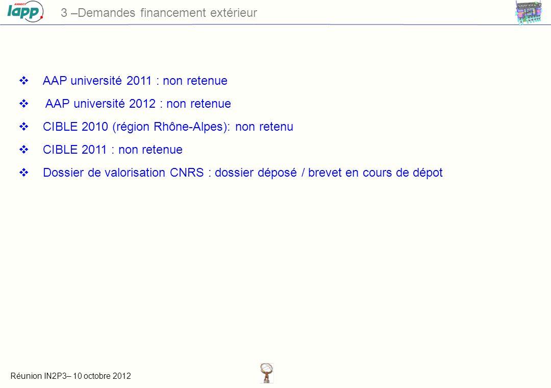 Réunion IN2P3– 10 octobre 2012 3 –Demandes financement extérieur AAP université 2011 : non retenue AAP université 2012 : non retenue CIBLE 2010 (région Rhône-Alpes): non retenu CIBLE 2011 : non retenue Dossier de valorisation CNRS : dossier déposé / brevet en cours de dépot