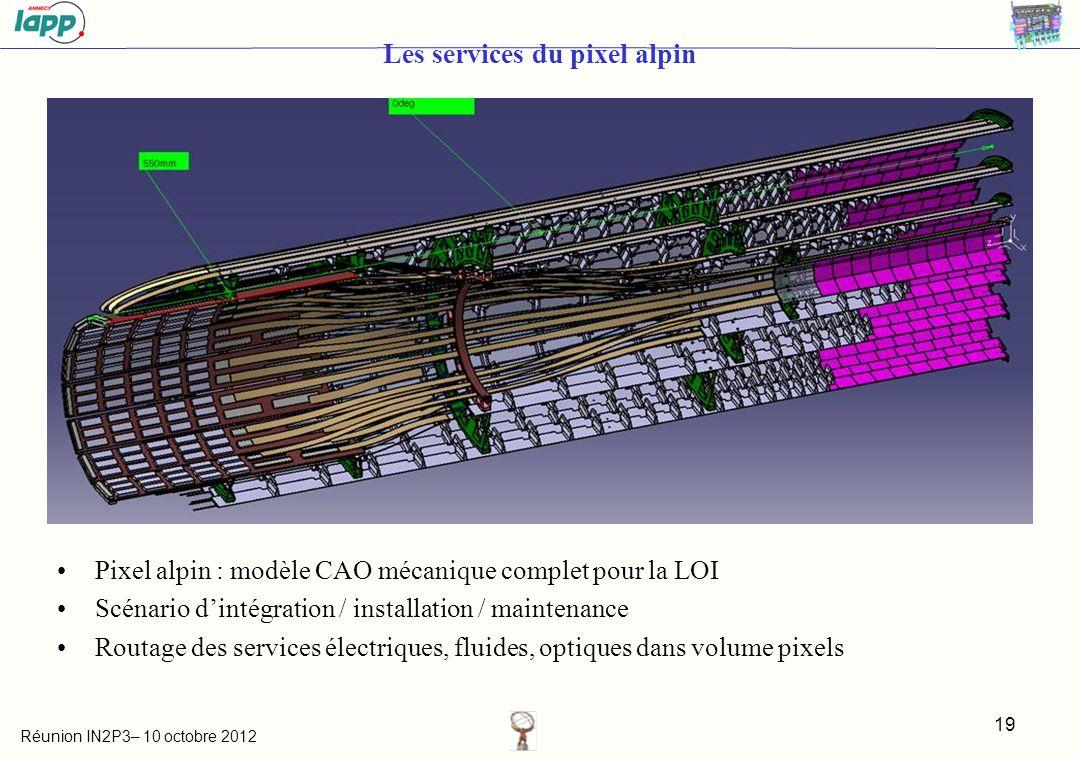 Réunion IN2P3– 10 octobre 2012 Les services du pixel alpin Pixel alpin : modèle CAO mécanique complet pour la LOI Scénario dintégration / installation / maintenance Routage des services électriques, fluides, optiques dans volume pixels 19