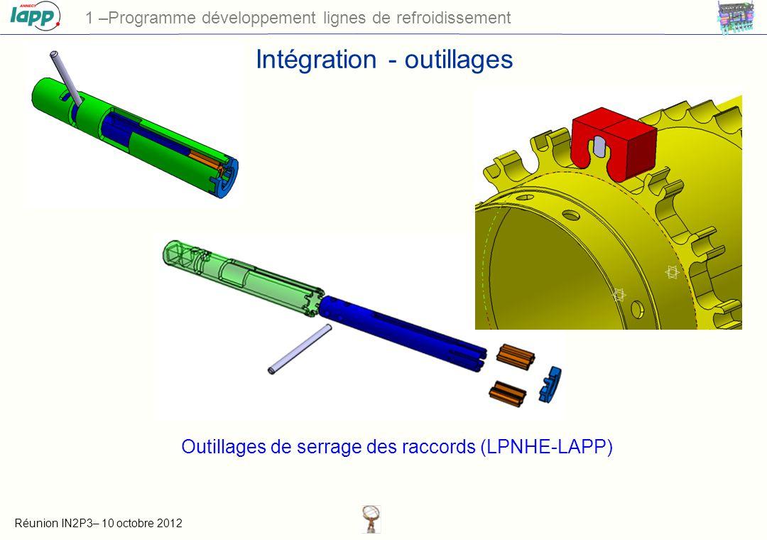 Réunion IN2P3– 10 octobre 2012 1 –Programme développement lignes de refroidissement Intégration - outillages Outillages de serrage des raccords (LPNHE-LAPP)