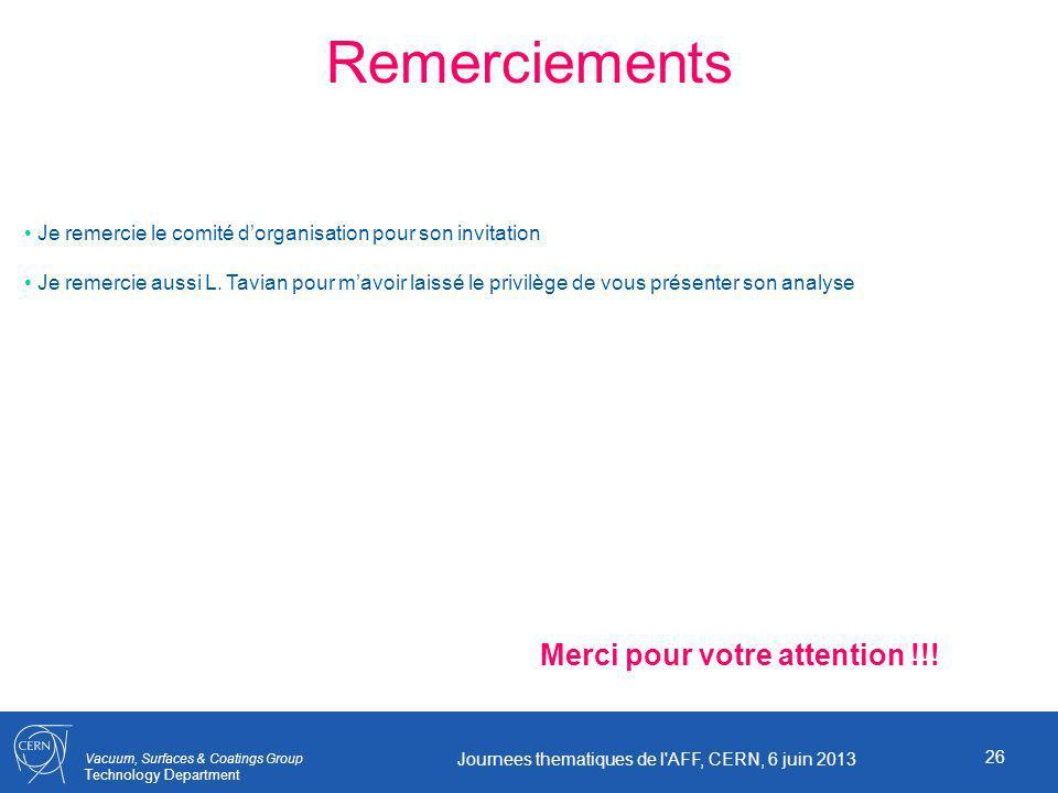 Vacuum, Surfaces & Coatings Group Technology Department 26 Journees thematiques de l AFF, CERN, 6 juin 2013 Remerciements Merci pour votre attention !!.