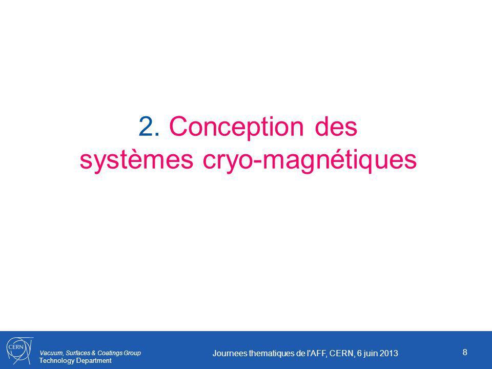Vacuum, Surfaces & Coatings Group Technology Department 8 Journees thematiques de l'AFF, CERN, 6 juin 2013 2. Conception des systèmes cryo-magnétiques