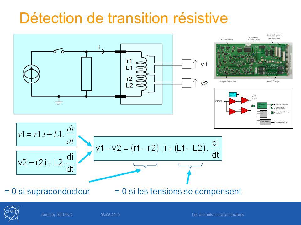 Andrzej SIEMKO. Détection de transition résistive = 0 si supraconducteur= 0 si les tensions se compensent 06/06/2013 Les aimants supraconducteurs.