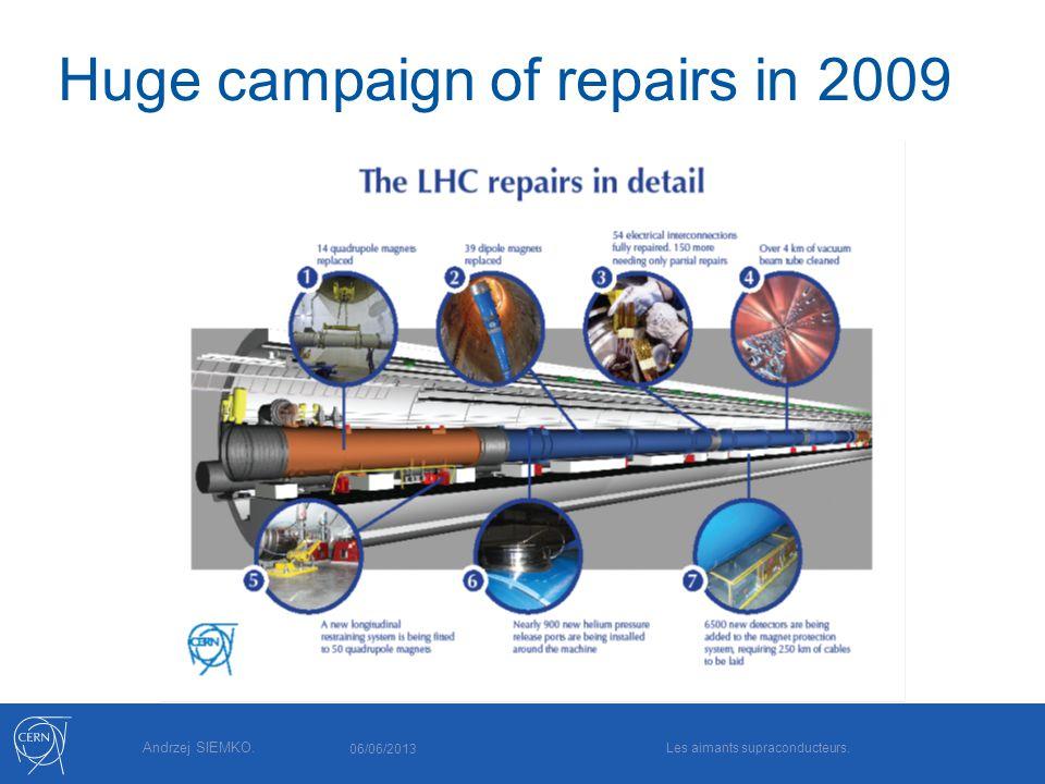 Andrzej SIEMKO. Huge campaign of repairs in 2009 06/06/2013 Les aimants supraconducteurs.