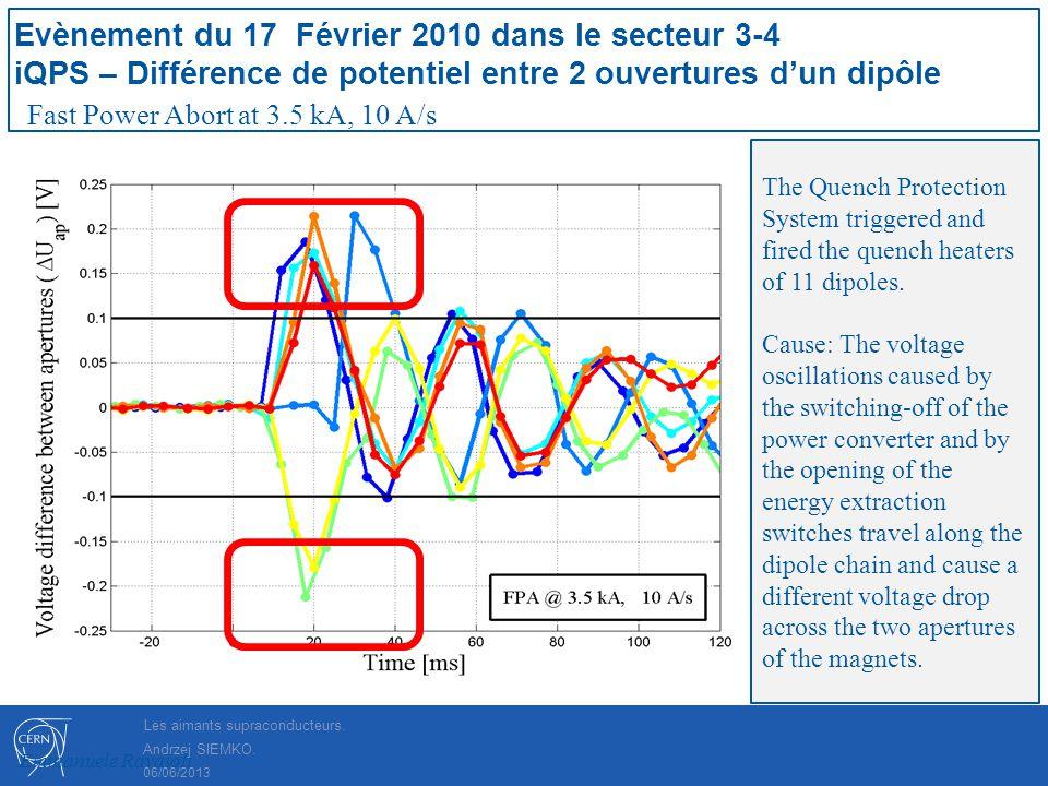 Andrzej SIEMKO. Evènement du 17 Février 2010 dans le secteur 3-4 iQPS – Différence de potentiel entre 2 ouvertures dun dipôle Fast Power Abort at 3.5