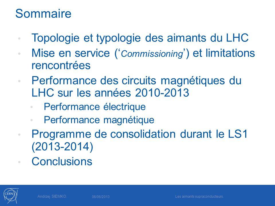 Andrzej SIEMKO. Sommaire Topologie et typologie des aimants du LHC Mise en service ( Commissioning ) et limitations rencontrées Performance des circui