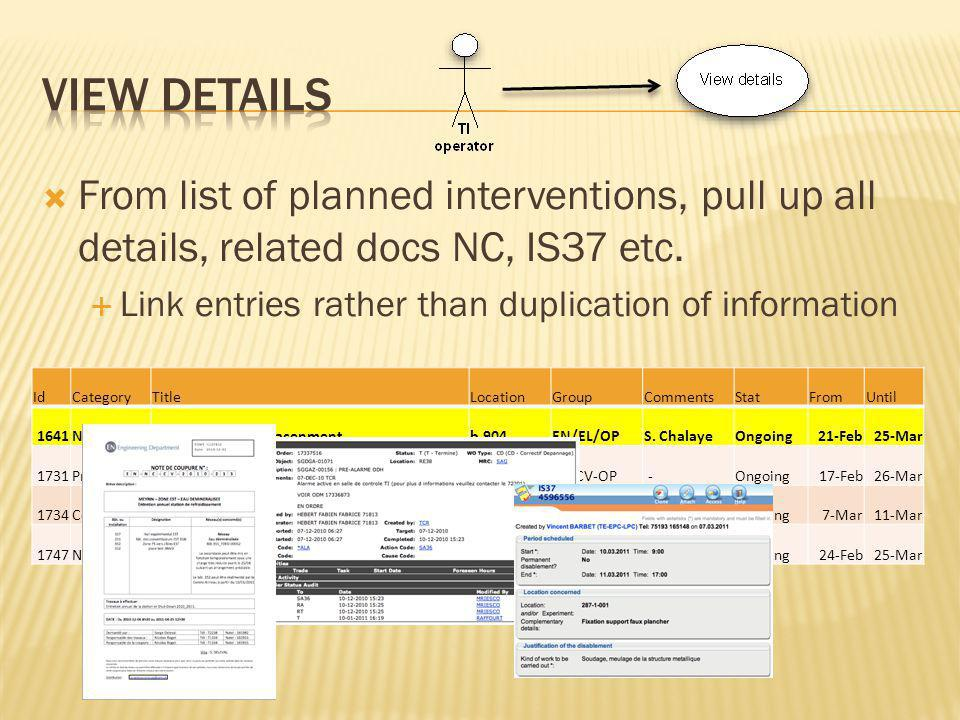From list of planned interventions, pull up all details, related docs NC, IS37 etc.